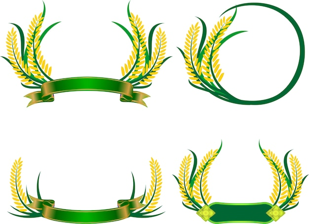 Agriculture symbols set of rice frame vector