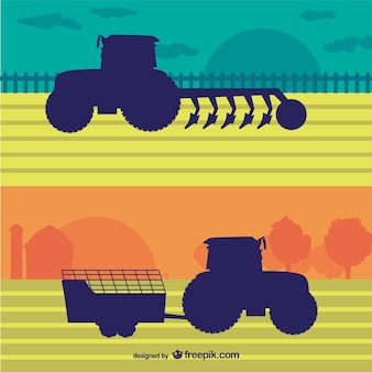 Agriculture tractors in the farm