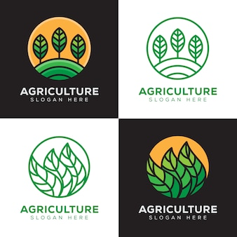 Agriculture, tropical plant logo set with line art style