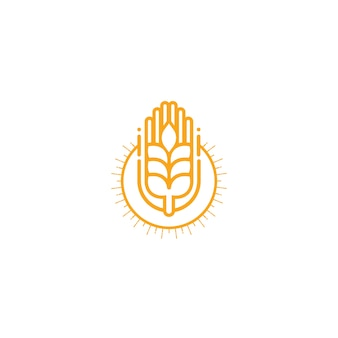 農業小麦ロゴベクトルテンプレートのアイコンデザイン