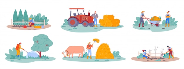 Работник сельского хозяйства. сцены из жизни на ферме, сельскохозяйственные растения и урожай. человек на тракторе собирает сено в стоге сена. мультфильм люди сажают фруктовые деревья. сельский рабочий персонаж,