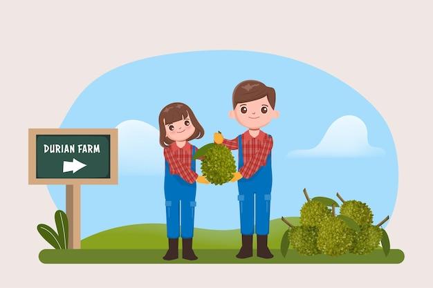 Персонаж-земледелец с фруктами дуриана на ферме