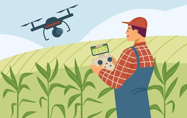 農業用トウモロコシ畑で技術を使用している農学者