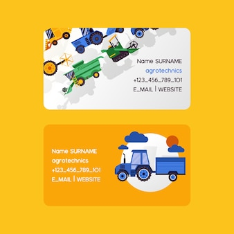 Agrotechnics set of business cards. harvesting machines vector illustration. equipment for agriculture. workers on industrial farm vehicles