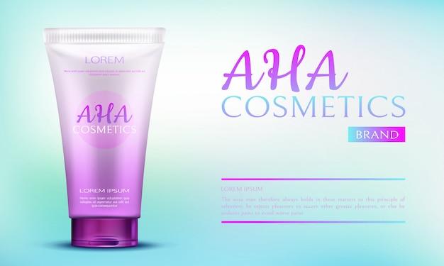 青のグラデーション広告の背景にピンクのチューブコンテナーでアハ化粧品美容製品。