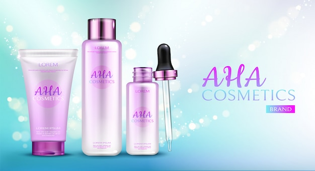 Aha cosmetics line on blue gradient background with sparkles.