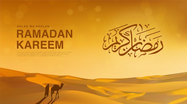 Ahlan wa sahlan ramadan kareem means welcome ramadan. wallpaper design template with 3d illustration of desert view and a traveler with his camel, happy muslim holiday background in gold color.