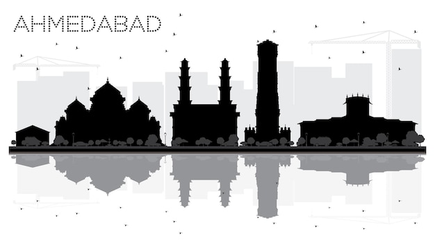 Ahmedabad city skyline black and white silhouette with reflections. vector illustration. cityscape with landmarks