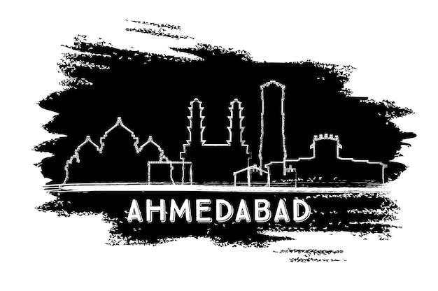 アーメダバードインドの街のスカイラインのシルエット。手描きのスケッチ。ベクトルイラスト。歴史的な建築とビジネス旅行と観光の概念。ランドマークのあるアーメダバードの街並み。