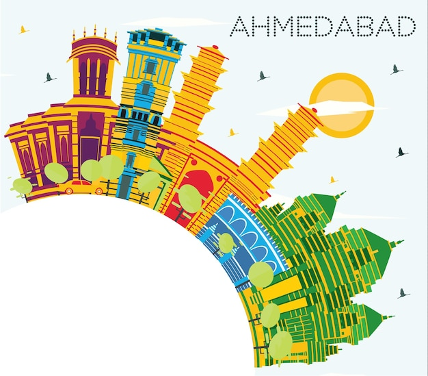 색상 건물, 푸른 하늘 및 복사 공간이 있는 아메다바드 인도 도시 스카이라인. 벡터 일러스트 레이 션. 역사적인 건축과 비즈니스 여행 및 관광 개념입니다. 랜드마크가 있는 아마다바드 도시 풍경.