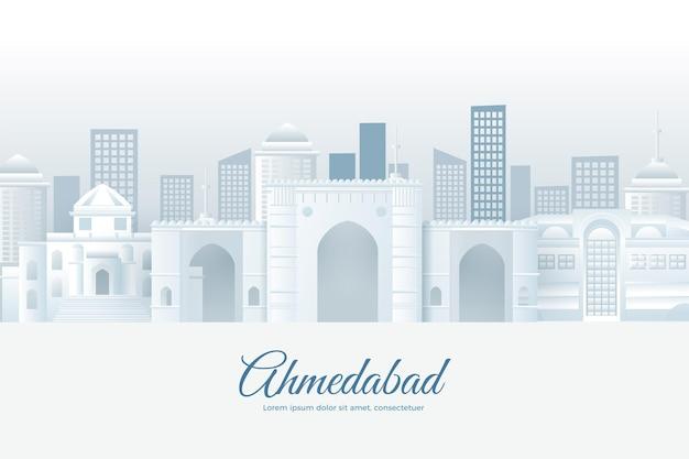 종이 스타일에서 ahmedabad 스카이 라인