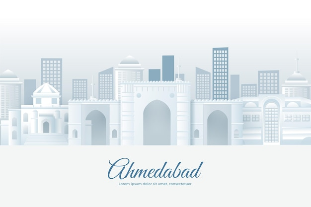 Ahmedabad skyline in paper style