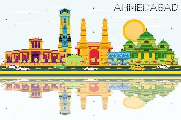 Ahmedabad skyline with color buildings blue sky and reflections