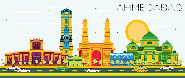 Ahmedabad skyline with color buildings and blue sky. vector illustration. business travel and tourism concept with historic architecture. image for presentation banner placard and web site.