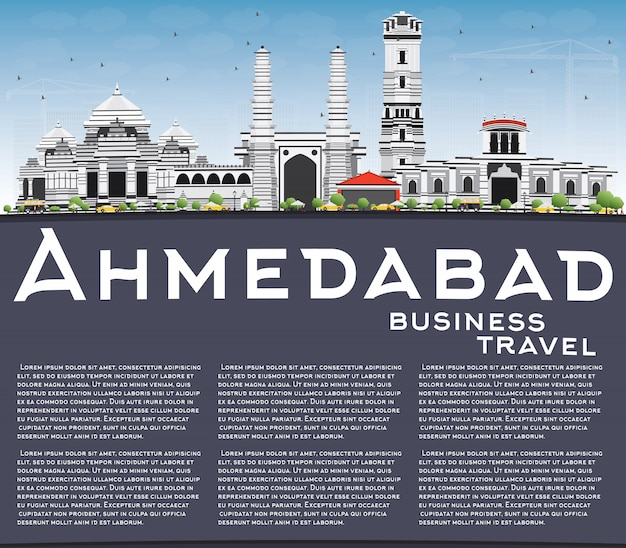 Ahmedabad skyline with gray buildings, blue sky and copy space.