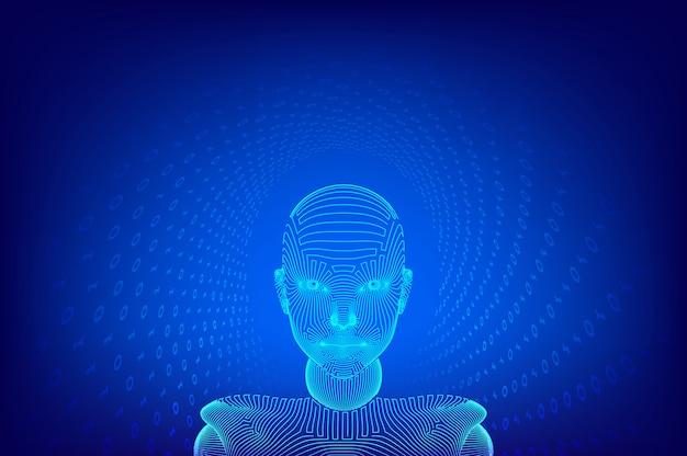 Ai。人工知能 。愛デジタル脳。抽象的なデジタル人間の顔。ロボットデジタルコンピューターの解釈の人間の頭。ロボット工学。ワイヤフレームヘッドのコンセプト。図。