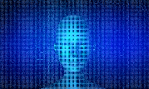 Ai. artificial intelligence concept. abstract digital human face made with streaming matrix digital binary code background.
