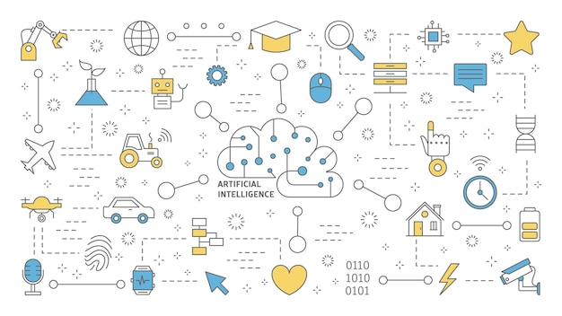 Ai or artificial intelligence concept. futuristic technology and machine learning. idea of robot assistance and human mind. set of line icons.    illustration