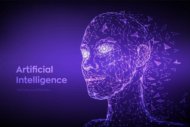 Ai。人工知能のコンセプトです。低多角形の抽象的なデジタル人間の顔。ロボットデジタルコンピューター解釈の人間の頭。