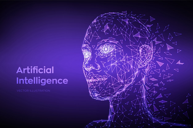 Ai. artificial intelligence concept. low polygonal abstract digital human face. human head in robot digital computer interpretation.