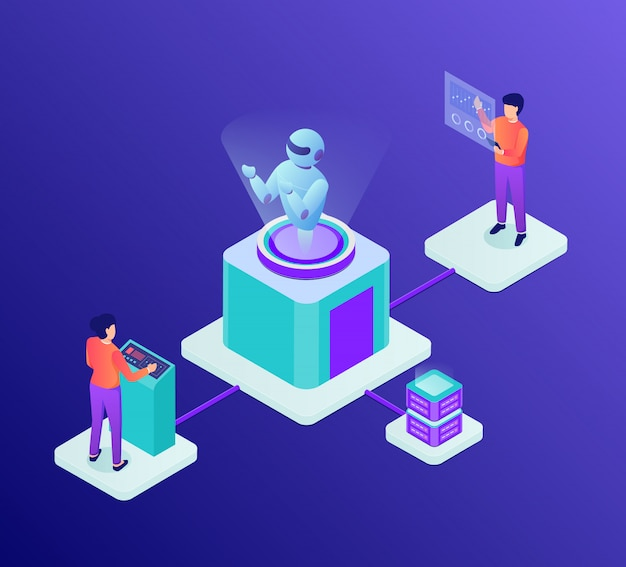 Ai artificial intelligence development concept with robot and people developer with isometric style