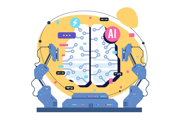 Ai、人工知能アイコンの概念、電子ニューロンを備えた脳。フラットなイラスト。 ai人工知能とヒューマンインテリジェンスコンセプトビジネスイラスト。