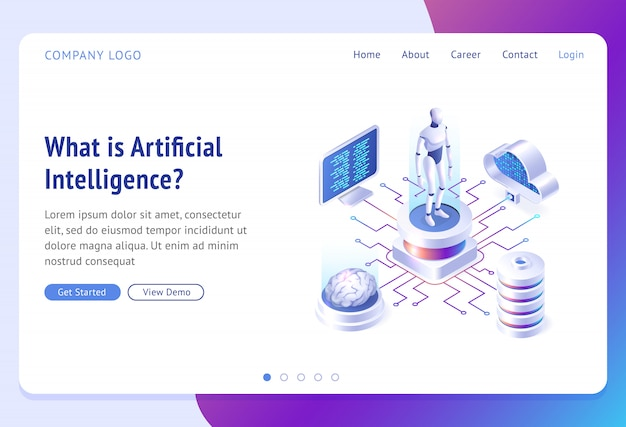 Ai, landing page isometrica dell'intelligenza artificiale