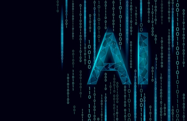 Ai人工知能文字3d。バーチャルアシスタントアプリの幾何学的シンボルロボットサポートサービス技術。チャットボットロゴテンプレート低ポリ