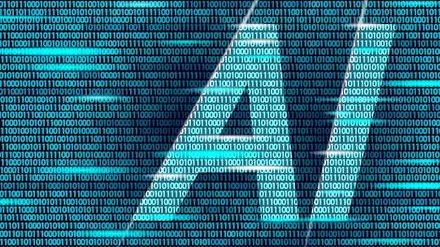 Ai artificial intelligence letters on code data flow. virtual assistant app geometric symbol support service technology. binary number chatbot logo information line