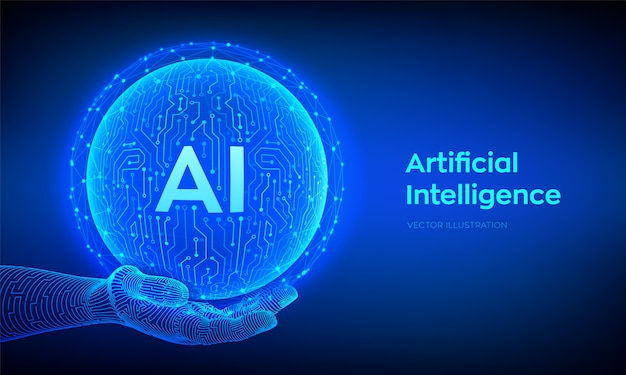 Ai. artificial intelligence logo. artificial intelligence and machine learning concept. abstract technology circuit board sphere in hand. big data technology. neural networks.