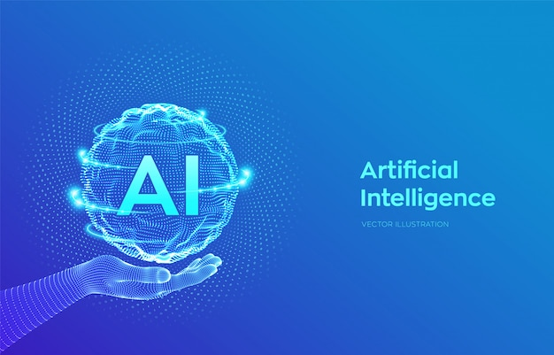 Ai. artificial intelligence logo in hand. sphere grid wave with binary code.