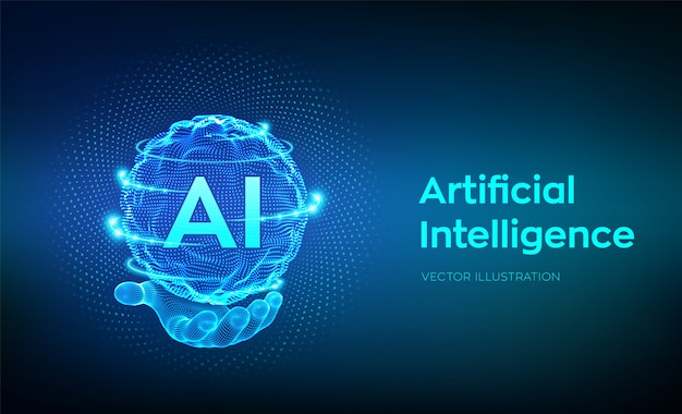 Ai。手に人工知能のロゴ。バイナリコードを持つ球グリッド波。