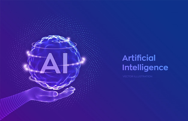 Ai. artificial intelligence logo in wireframe hand. sphere with binary code.