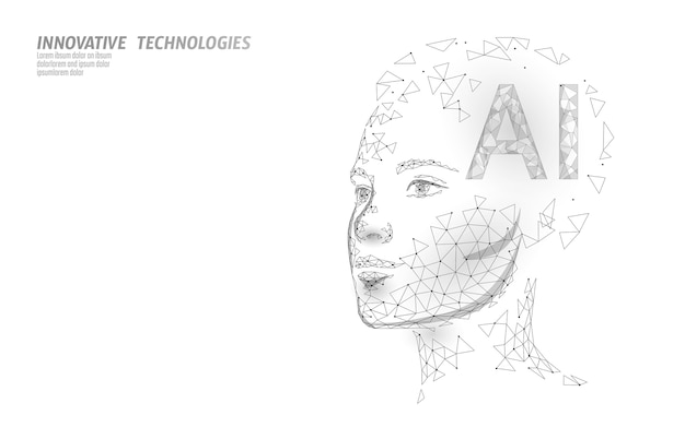 Ai 인공 지능 로봇은 3d를 지원합니다. 가상 비서 음성 인식 서비스 기술. chatbot 아름다운 여성 얼굴 낮은 폴리