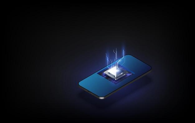 Ai 인공 지능 웨이브 라인 신경망 보라색 파란색과 녹색 빛은 검은 배경에 고립. 기술의 개념에서 벡터입니다.