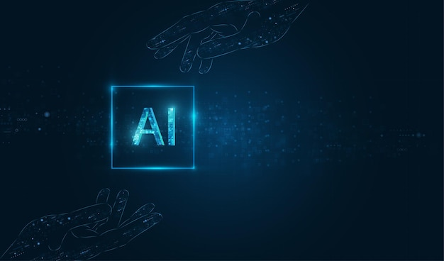 Ai(artificial intelligence) wording with hand design.