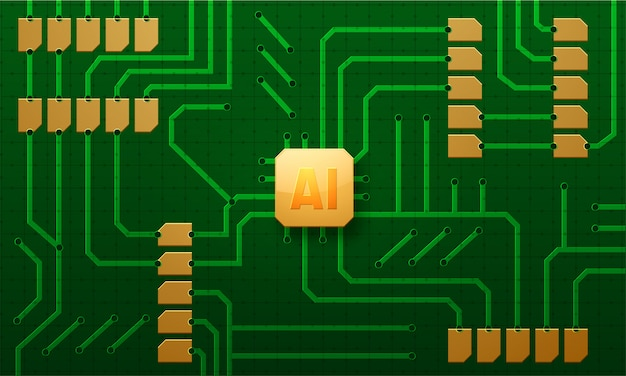 Ai chip inserted in a computer circuit board.