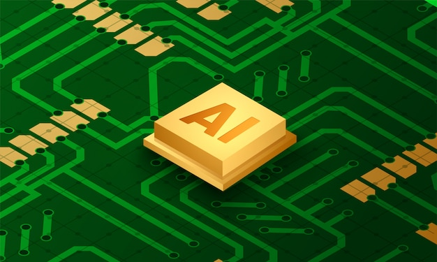 Ai chip is inserted on computer circuit.