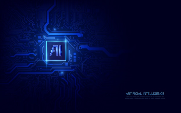 Ai chipset on circuit board in futuristic concept suitable for future technology