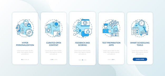 Ai in education onboarding mobile app page screen with concepts