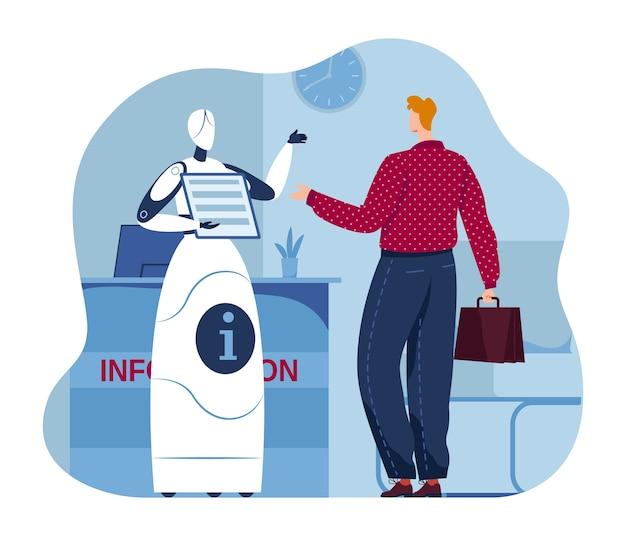 Ai flat help service, искусственная разведка помощь человеку иллюстрации. цифровой персонаж робота, концепция работника робототехники. информационный механизм в офисе, инновационная машина.