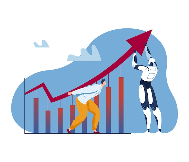 인공 지능 성장, 비즈니스 로봇 성공 개념 그림. 진행 기술, 최대 금융 차트 근처 사업가 남자 캐릭터. 작업 배경의 자동화 혁신, 위쪽 화살표.