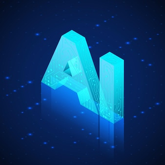 Ai hologram. artificial intelligence isometric . technology background.