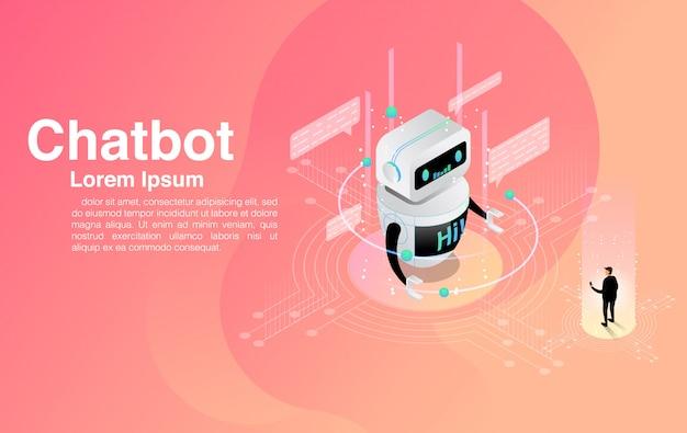 チャットボットアプリケーションとチャットする男。ダイアログヘルプサービス。 aiおよびビジネスiot。