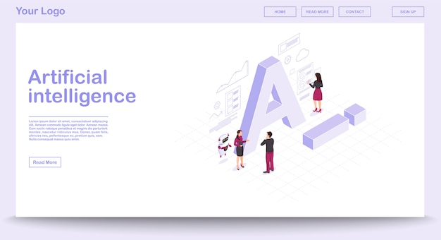 Ai isometric web page vector template with isometric illustration