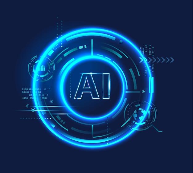 Ai letter 네온 조명 (인공 지능) 로고, 신경망, 사이버네틱스, 디지털 hud 미래형 및 딥 러닝.
