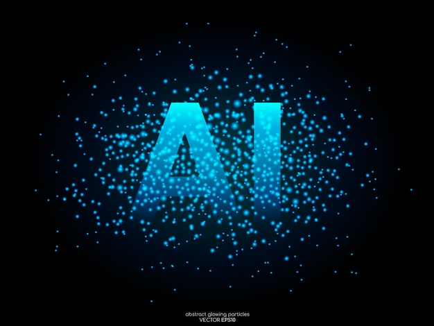 Ai letters with blue light dot particles on black. concept of a.i. technology.