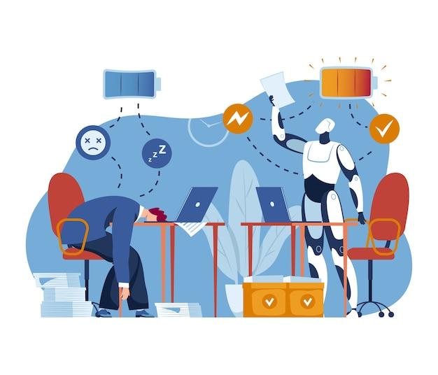 Ai機械技術、ビジネスロボットイラスト。人間の充電オフ、将来の人工知能は完全なバッテリーのコンセプトを持っています。現代の仕事のためのコンピューターサイエンスサイボーグフラットエネルギー。