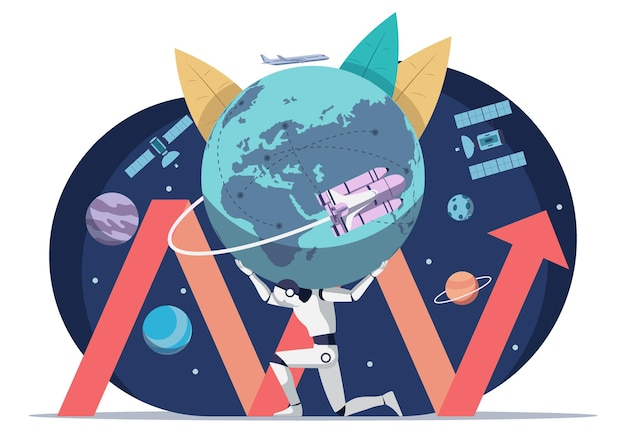 세계를 나르는 인공지능 로봇은 환경통신 운송, 우주기술 등 모든 것을 개발한다. 인공 지능 로봇 기술과 세계화 시대 개념.