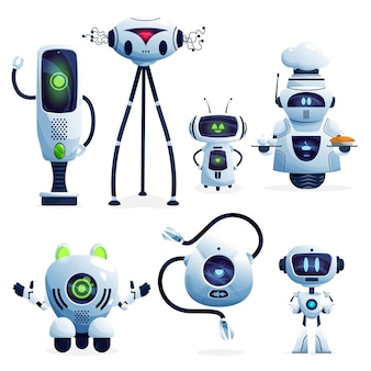 Ai robot cartoon characters, artificial intelligence androids and future technology cyborgs